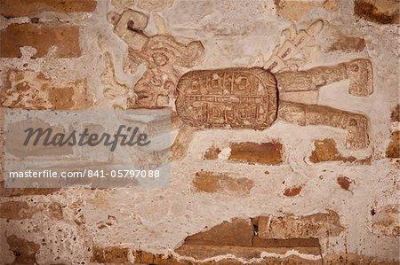 Wall sculpture found inside Mixtec tomb, Zona Arqueologica, Zaachila village, Valles Centrales, Oaxaca, Mexico, North America