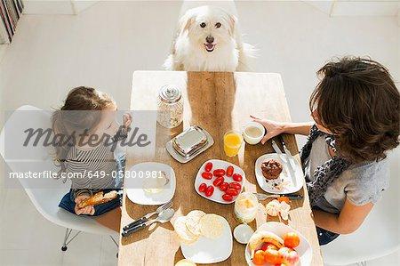 Mutter und Tochter am Tisch mit Hund