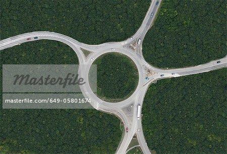 Vue aérienne du rond-point rural