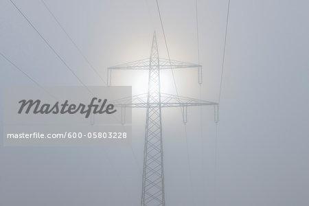 Hydro Pylon in Fog, Marktheidenfeld, Bavaria, Germany