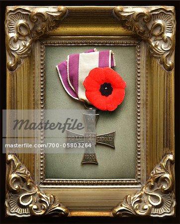 1920 Polonais Croix de vaillance avec pavot dans le cadre