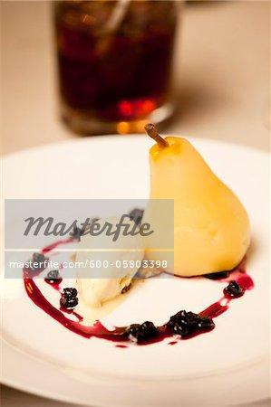 Close-up of Pear and Ice Cream Dessert