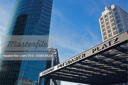 Sony Center and Ritz-Carlton Hotel as seen from Entrance of Potsdamer Platz Station, Berlin, Germany