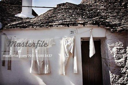 Laundry Drying on Clothesline, Salento, Puglia, Italy