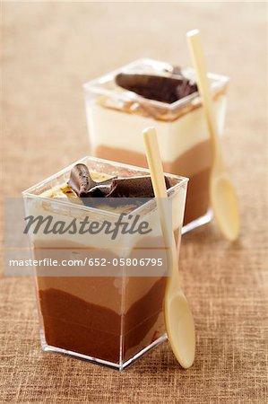 Drei Schokolade Verrines