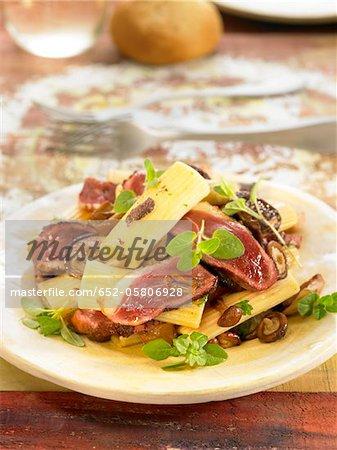 Macaronis with duck's breast,mushrooms,truffles and oregano