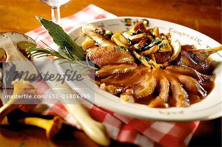 Roast Mallard duck with mushrooms
