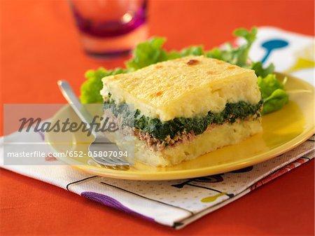 Spinach,mashed potato and tuna florentine gratin