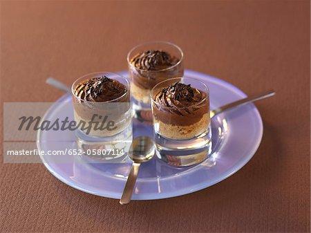 Schokolade und Tee Verrines