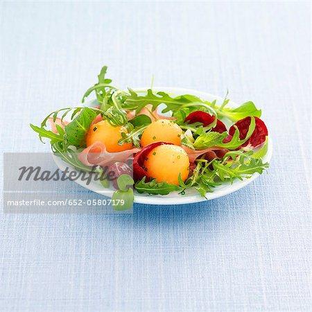 Aufschnitt und Melonensalat