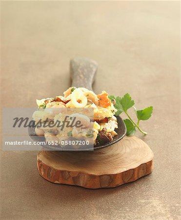 Mushroom and flageolet bean gratin