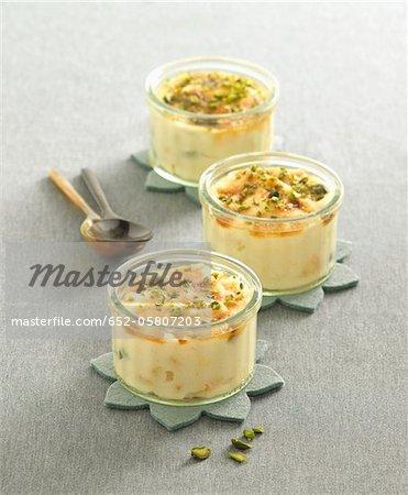 Apricot and pistachio semolina pudding