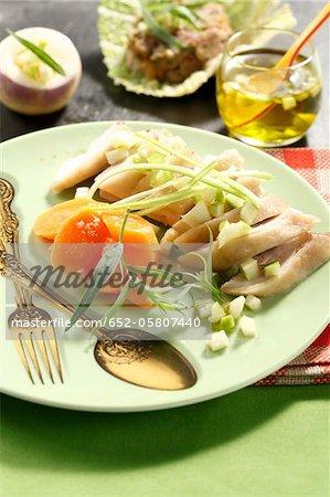 Vanilla-flavored chicken supreme with spring vegetables