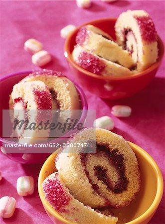 Rolled sponge cake with raspberry jam filling