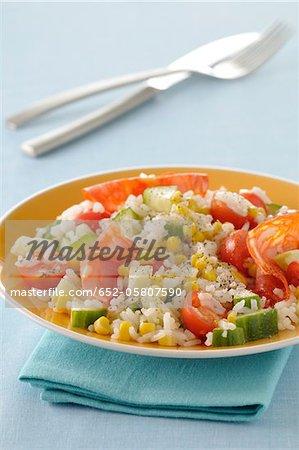 Long grain rice,chorizo,corn,cucumber and tomato salad