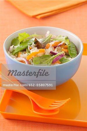 Riz à grain long, sugarpea, carottes croquantes et salade mesclun