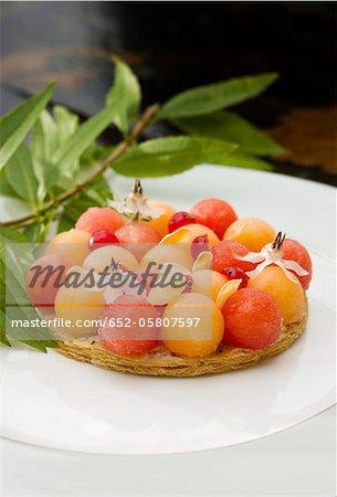 Tartelette de melon et pastèque