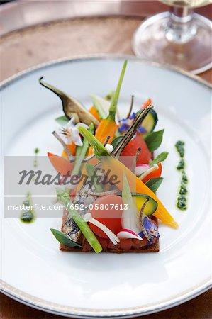Grilled spring vegetable on toast