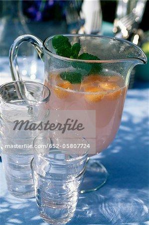 Lemonade with watermelon and melon balls