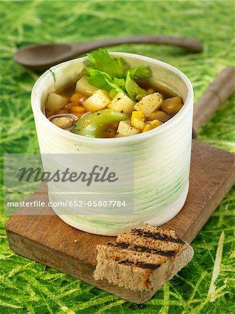 Chickpea,potato and celery soup