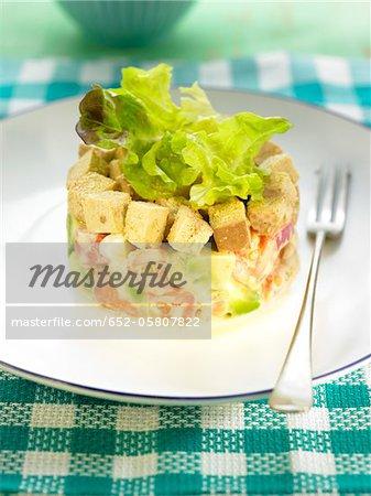 Tartare d'avocat, tomate et tofu