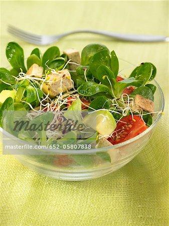 Maïs salade, tofu, tomate et salade à l'orientale