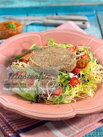 Vegan steak with mixed salad