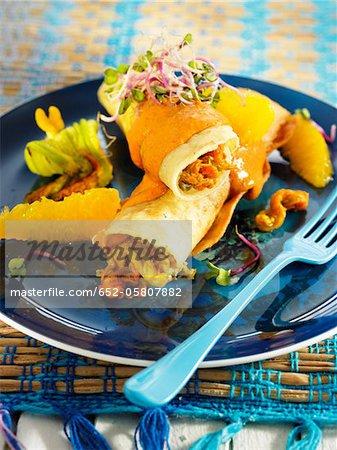Zucchini und orange Enchilada