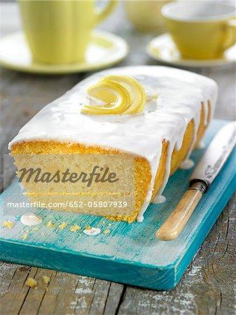 Lemon cake coated with icing