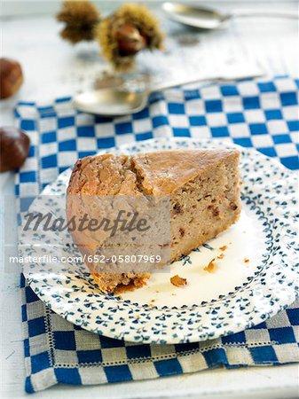 Portion of chestnut cake