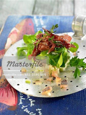 Tartare de truite et apple avec salade de laitue mixte et jambon cru espagnol