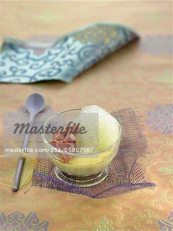 Dicke Bohne schmackhaft Vanillepudding mit spanischer Schinken und Minze