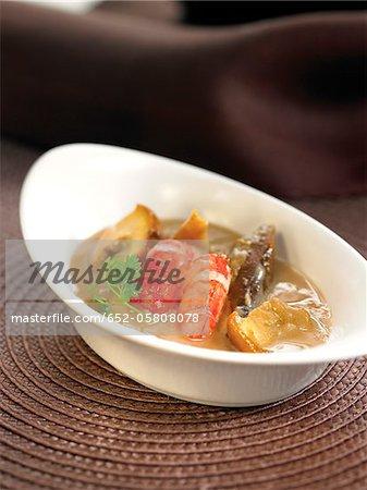 Boletus mushroom and gambas stew in creamy Brandy sauce