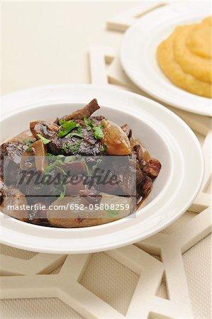 Boeuf Bourguignon, purée de pommes de terre et patates douces