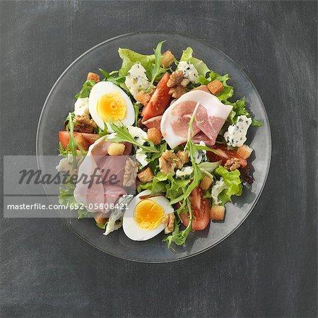 Raw ham,walnut and roquefort mixed salad