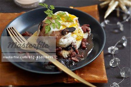 Egg meurette with truffles