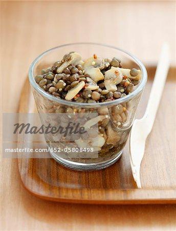 Salade de lentilles et champignons