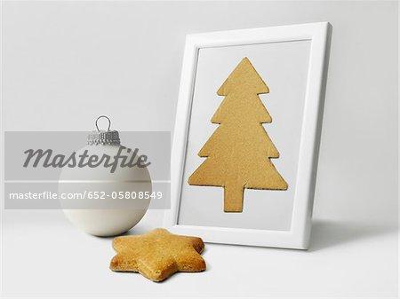 Biscuits en forme d'étoile, ornements de Noël blanc