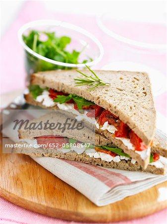 Tomato,feta and basil club sandwich