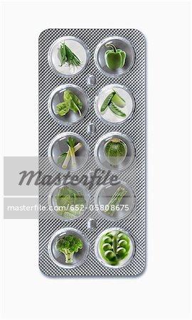 Tablette de légumes verts