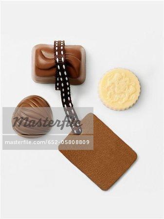 Three chocolates and a blanck tag