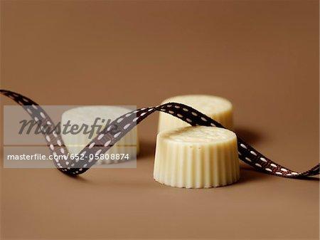 White chocolates and ribbon