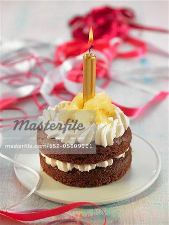Chocolate and whipped cream birthday cake