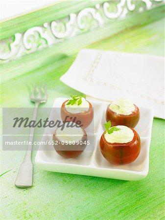 Italian tomatoes stuffed with mascarpone and parsley