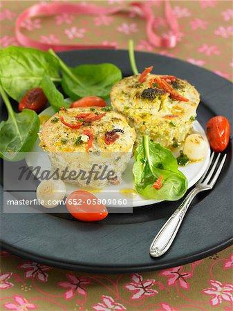 Broccoli,tomato,onion and potato savoury puddings