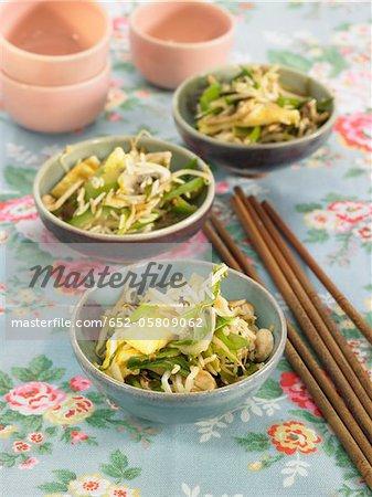 Indonesian Nasi goreng with seaweed,green pepper,basmati rice and soya beans
