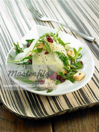 Rocket lettuce,pear,tofu,cherry and tofu salad