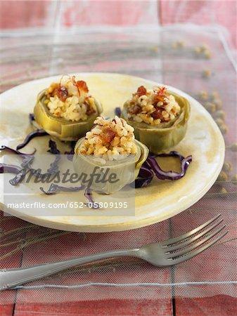 Artichokes stuffed with saffron rice and dates