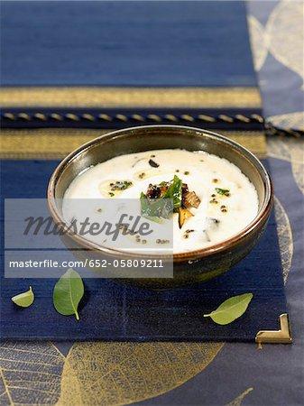 Eggplants with yoghurt and mustard seeds