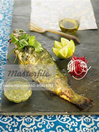 Grilled sea bream marinated in mint and garam massala